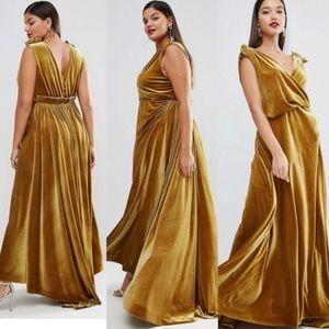Mustard Velvet Drape Dress
